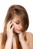 Woman face phone talking. Isolated Royalty Free Stock Photography