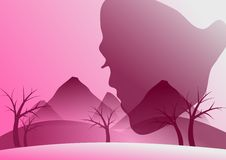 Woman face on pink Stock Images