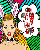 Woman face in pop art style with Bunny ears. Royalty Free Stock Image