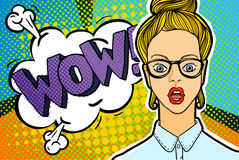 Woman face in pop art style. Royalty Free Stock Image