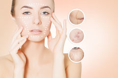 Woman face portrait with circles for graphic design Stock Photos