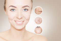 Woman face portrait with circles for graphics Stock Photos