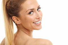Woman face portrait isolated on white with healthy skin Royalty Free Stock Photography