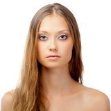 Woman face portrait over white Royalty Free Stock Photography
