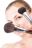 Woman face powders Royalty Free Stock Photography