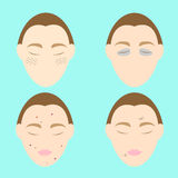 Woman face problems on blue background Stock Photo