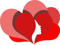 Woman face profile in red heart Stock Photo