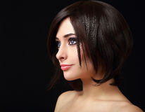 Woman face profile with short black. Hair Royalty Free Stock Image