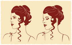 Woman face profile silhouette Stock Image