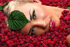 Woman face in raspberries with leaves Stock Photos