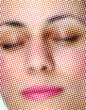 Woman face - rasterized. Rasterized abstract face. Print media effect. Woman face Royalty Free Stock Images
