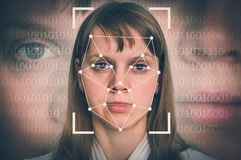 Woman face recognition - biometric verification concept stock photography