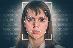 Woman face recognition - biometric verification concept. Retro style stock photos