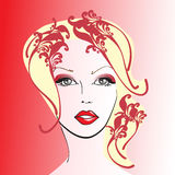 Woman Face. On the red background Royalty Free Stock Image