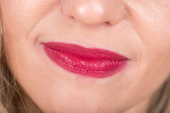Woman Face with Red Lips and Hairs. Happy and Tired. Studio Photo Shoot. Stock Images