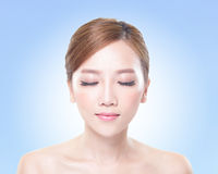 Woman face relax closed eyes Royalty Free Stock Photo