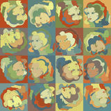 Woman face - retro style, seamless pattern. EPS 8 Royalty Free Stock Photo