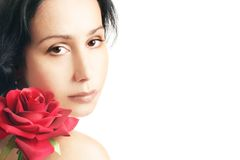 Woman face with rose Stock Photo