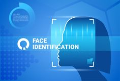 Woman Face Scanning Modern Identification System Access Control Technology Biometrical Recognition Concept. Vector Illustration Stock Photos