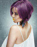 Woman face with short hair, yellow lips Stock Photos