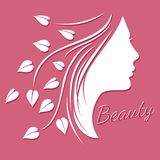 Woman face silhouette - beauty logo or emblem with female shape royalty free illustration