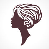 Woman face silhouette. Female head with stylish hairdo. Woman face silhouette. Female head with stylish hairdo vector illustration