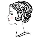 Woman face silhouette. Female head with stylish hairdo. Stock Photo