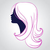 Woman face silhouette isolated on white background Royalty Free Stock Photo