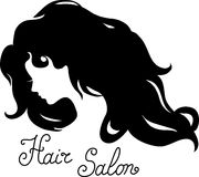 Woman face silhouette with long wavy hair Stock Photos
