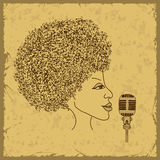 Woman face silhouette with musical notes hair Royalty Free Stock Images