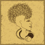 Woman face silhouette with musical notes hair Royalty Free Stock Photography