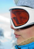 Woman face in ski mask Stock Image