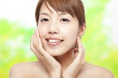 Woman face with skin care Stock Images
