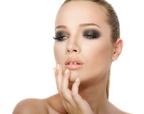Woman face with smoky Royalty Free Stock Images
