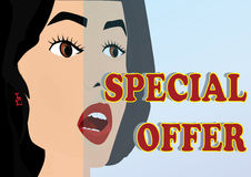 Woman Face And Special Offer_eps. Illustration of woman face. Above the special offer can put product or price Stock Images