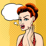 Woman Face with Speech Bubble. Drawn Pop Art Style Stock Image