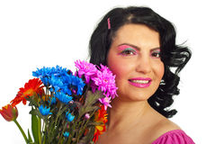 Woman face with spring makeup and flowers Royalty Free Stock Images