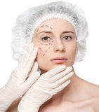 Woman face, before surgery operetion Royalty Free Stock Photo