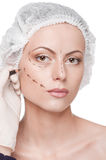 Woman face, before surgery operetion Stock Images