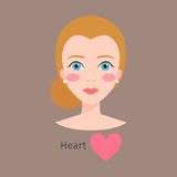 Woman face type vector illustration character shape girl makeup beautiful hair cosmetic female heart Stock Photography