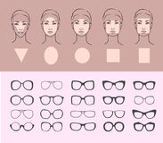 Woman face types and sunglasses Stock Photos