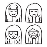 Woman face vector icon hand drawn doodle illustration black lines, nice hair girl eyes closed Royalty Free Stock Photos