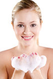 Woman face wash Royalty Free Stock Images