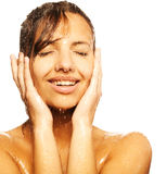 Woman face with water drop Stock Image