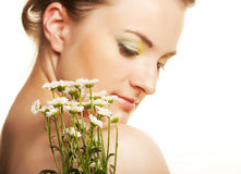 Woman face with white flowers Royalty Free Stock Photography