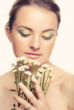 Woman face with white flowers Royalty Free Stock Photo