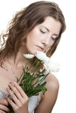 Woman face with white flowers Royalty Free Stock Photos