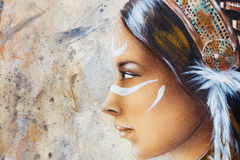 Woman face and white tattoo, airbrush painting on paper, profile portrait. Royalty Free Stock Images