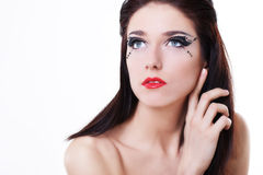 Woman Face With Bright Makeup Stock Photo