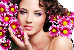 Woman Face With Flowers Royalty Free Stock Photography